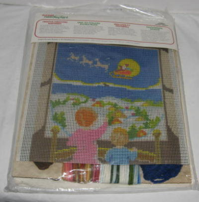 Needlepoint Kit, There Goes Santa, 1980, SEALED