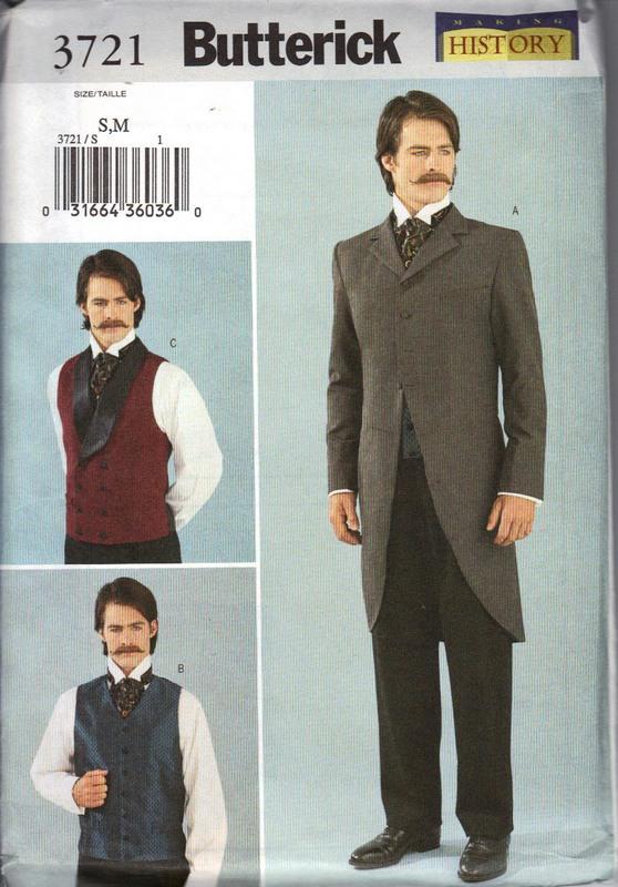 Butterick 3721 S-M Men\'s Waistcoat Jacket Vest Pattern UNCUT [3721 ...