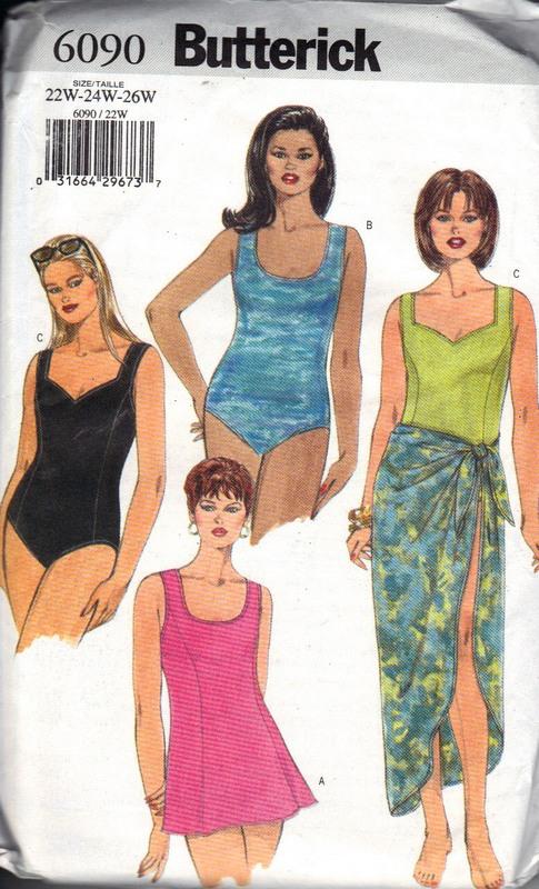 Butterick 6090 Plus Size Swimsuit Sewing Pattern 6090 2000