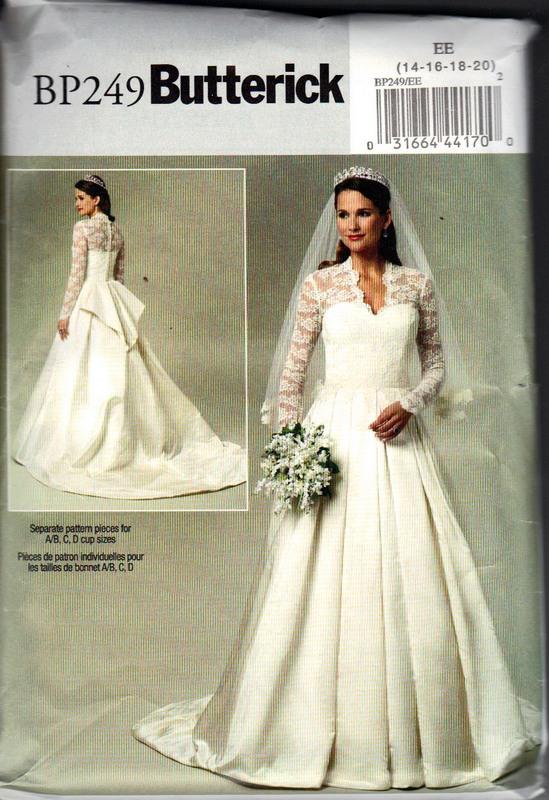 Butterick Bp249 Royal Wedding Bridal Dress Pattern Large Uncut