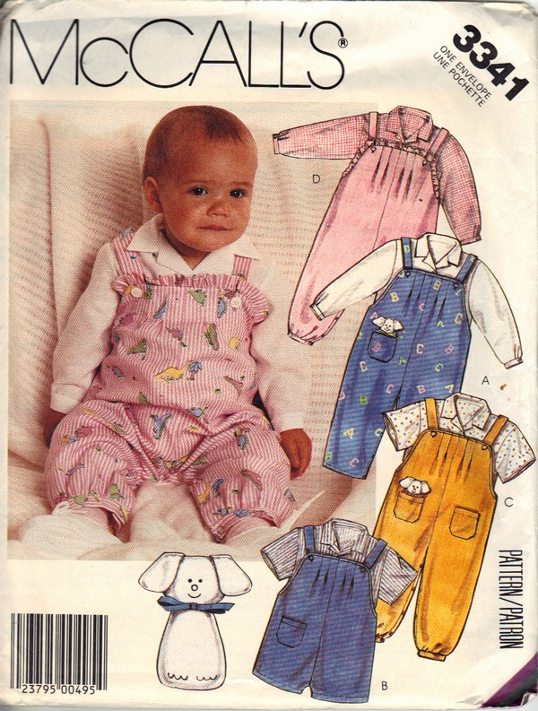 Mccalls 3341 Infant Overall Top Toy Sewing Pattern Uncut 3341
