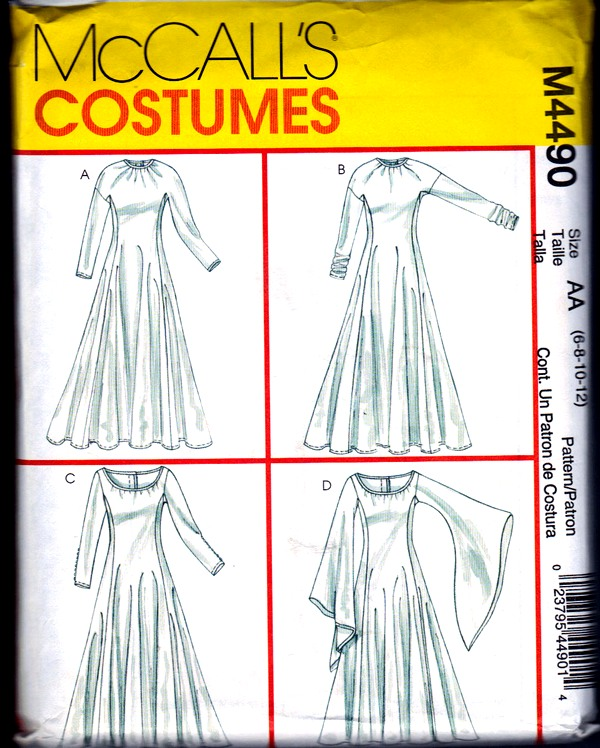 McCalls 4490 Size AA Medieval Angel Sleeve Dress.Pattern UNCUT ...
