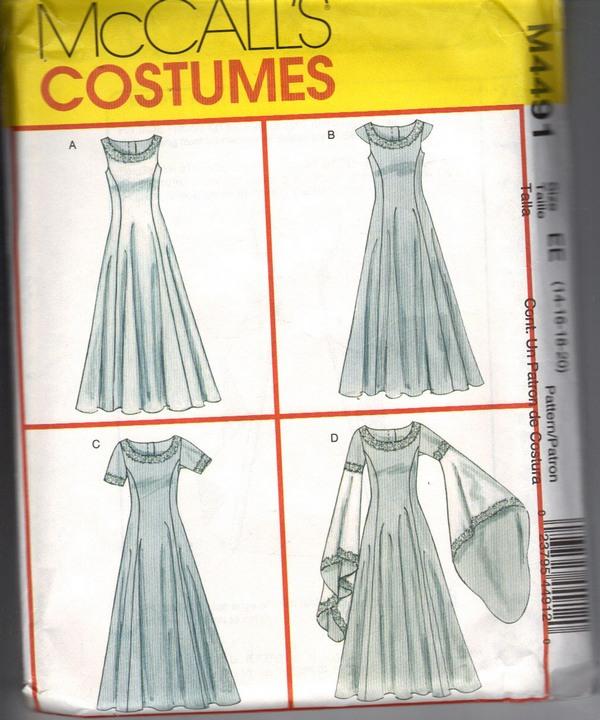 mccalls 4491 ee medieval costume pattern uncut