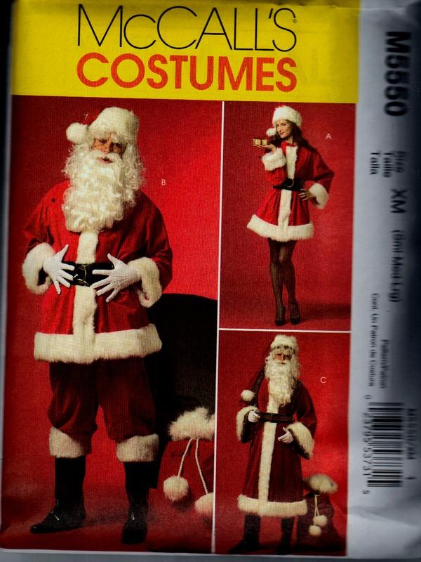 Mccalls 5550 Xm Santa Claus Costume Pattern Uncut M5550 1500