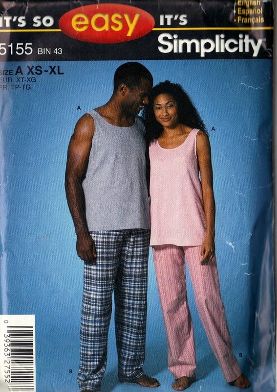 Simplicity 5155 Unisex Sleepwear Pattern UNCUT - Click Image to Close
