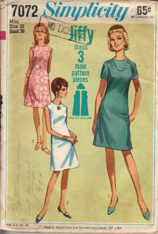 Simplicity 7072 Simple Vintage Sheath Dress Pattern - Click Image to Close