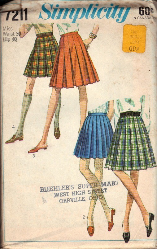 Simplicity 7211 Pleated Skirt Pattern Vintage UNCUT - Click Image to Close
