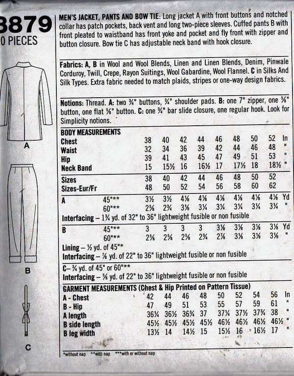 Simplicity 8879 Retro Pattern Zoot Suit UNCUT [8879] - $25.00 : The ...