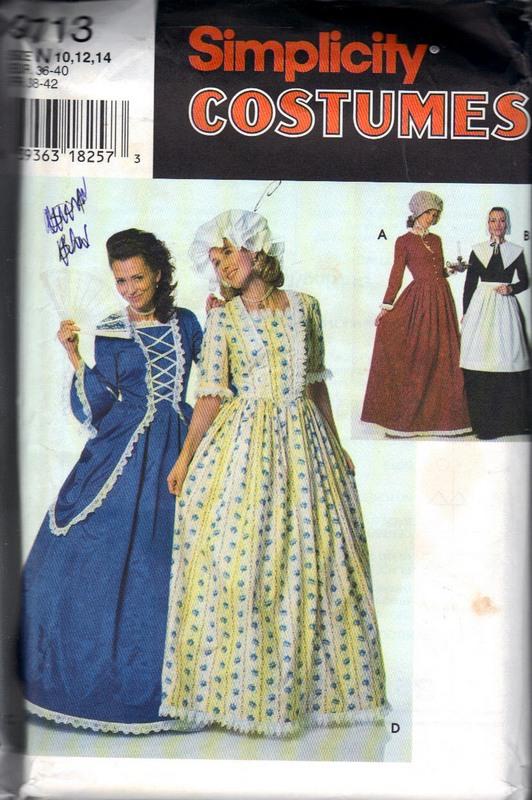 Simplicity 9713 Frontier Colonial Costume Pattern UNCUT  sc 1 st  The Vintage Cache & Simplicity 9713 Frontier Colonial Costume Pattern UNCUT [9713 ...