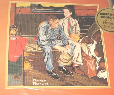 Breaking Home Ties Needlepoint Kit Norman Rockwell SEALED KIT