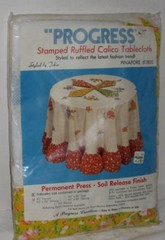 Stamped Ruffled Calico Tablecloth Embroidery Kit Vintage