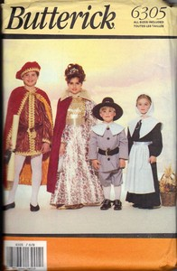 Butterick 6305 Child Pilgrim Royalty Costume Pattern
