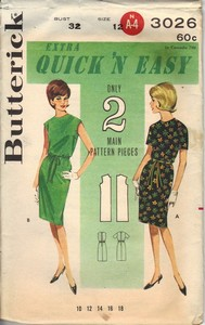 Butterick 3026 Vintage Sheath Dress Pattern UNCUT