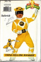 Butterick 3676 Trini-Yellow Power Ranger Costume Pattern UNCUT