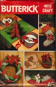 Butterick 4012 Christmas Accessories Pattern Uncut