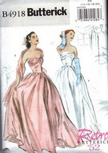 Butterick B4918 Size EE Retro '52 Evening Gown Pattern UNCUT