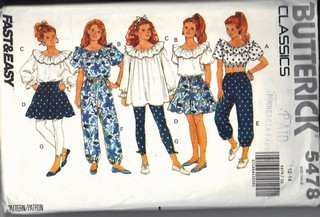 Butterick 5478 Separates Ruffles Medium Sewing Pattern