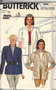 Butterick 6463 Unlined Jacket Pattern UNCUT