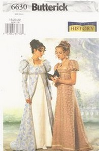 Butterick 6630 Regency Dress Pattern Size 18,20,22 NEW