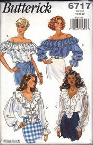 Butterick 6717 Ruffled Top XL Pattern UNCUT