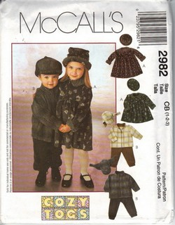 McCalls 2982 Toddler Wardrobe Pattern UNCUT