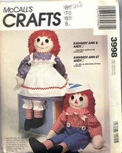 McCalls 3998 Raggedy Ann Andy Doll Pattern UNCUT