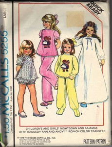 McCall's 4255 Girls' Nightgown Pajama Pattern UNCUT