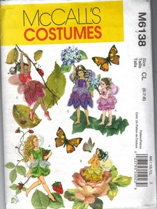 McCalls 6138 Children's Fairy Costume Pattern NEW