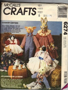 McCall's 6274 Country Critters Soft Doll Pattern UNCUT