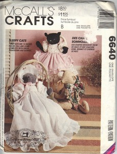 McCall's 6640 Sleepy Cat Doll Pattern UNCUT