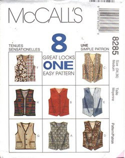 McCalls 8285 Medium Unisex 8 Look Vest Pattern UNCUT