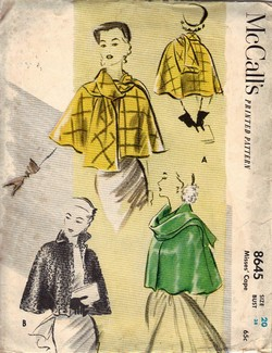 McCalls 8645 Vintage Cape Pattern dated 1951 UNCUT