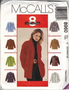McCall's 8960 Ladies Shirt Sewing Pattern UNCUT