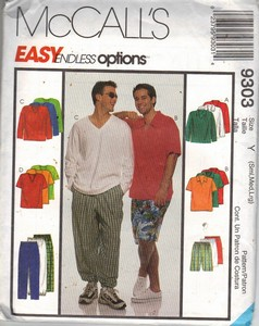 McCalls 9308 Mens Casual Pants Top Pattern UNCUT