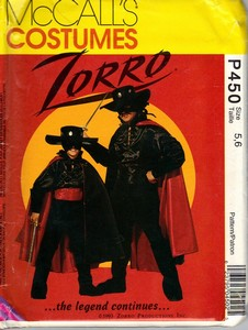 McCalls P450 Size 5, 6 Children's Zorro Pattern UNCUT