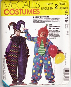 McCalls 6719 Children's Clown Costume Pattern UNCUT