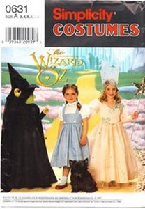 Simplicity 0631 Wizard of Oz Costume Child UNCUT