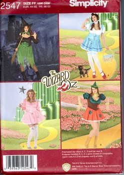 Simplicity 2547 Size FF Women's Wizard of Oz Costume Pattern NEW