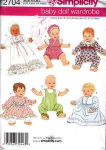 Siimplcity 2704 Baby Doll Wardrobe Pattern UNCUT