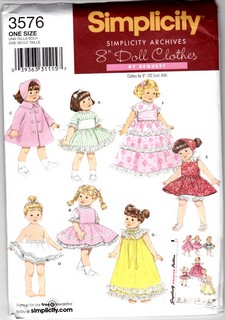 Simplicity 3576 Doll Clothes Archives Pattern Uncut