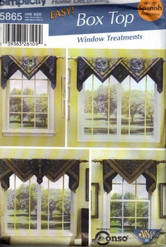 Simplicity 5865 Box Top Window Treatments Pattern UNCUT