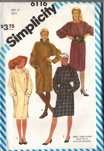 Simplicity 6116 Pullover Dress Pater Size 12