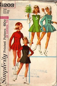 Simplicity 5203 Skating Cheerleader Vintage Pattern