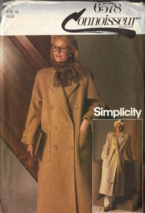 Simplicity 6578 Classic Coat Pattern Size 12
