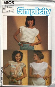 Simplicity 6805 Simple Top Pattern UNCUT
