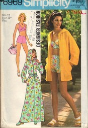 Simplicity 6969 Cover Up Bathing Suit Pattern UNCUT
