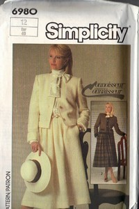 Simplicity 6980 Connoisseur Jacket Skirt Vintage Pattern