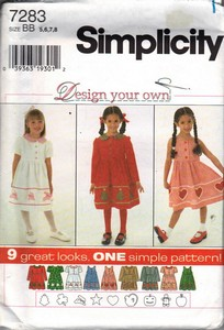 Simplicity 7283 BB Design Your Own Girls Dress Pattern
