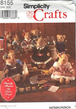 Simplicity 8155 Elaine Heigl Bear Clothes Pattern UNCUT