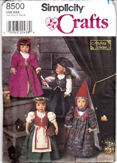 Simplicity 8500 Doll Clothes Costume Pattern 18 inch Uncut